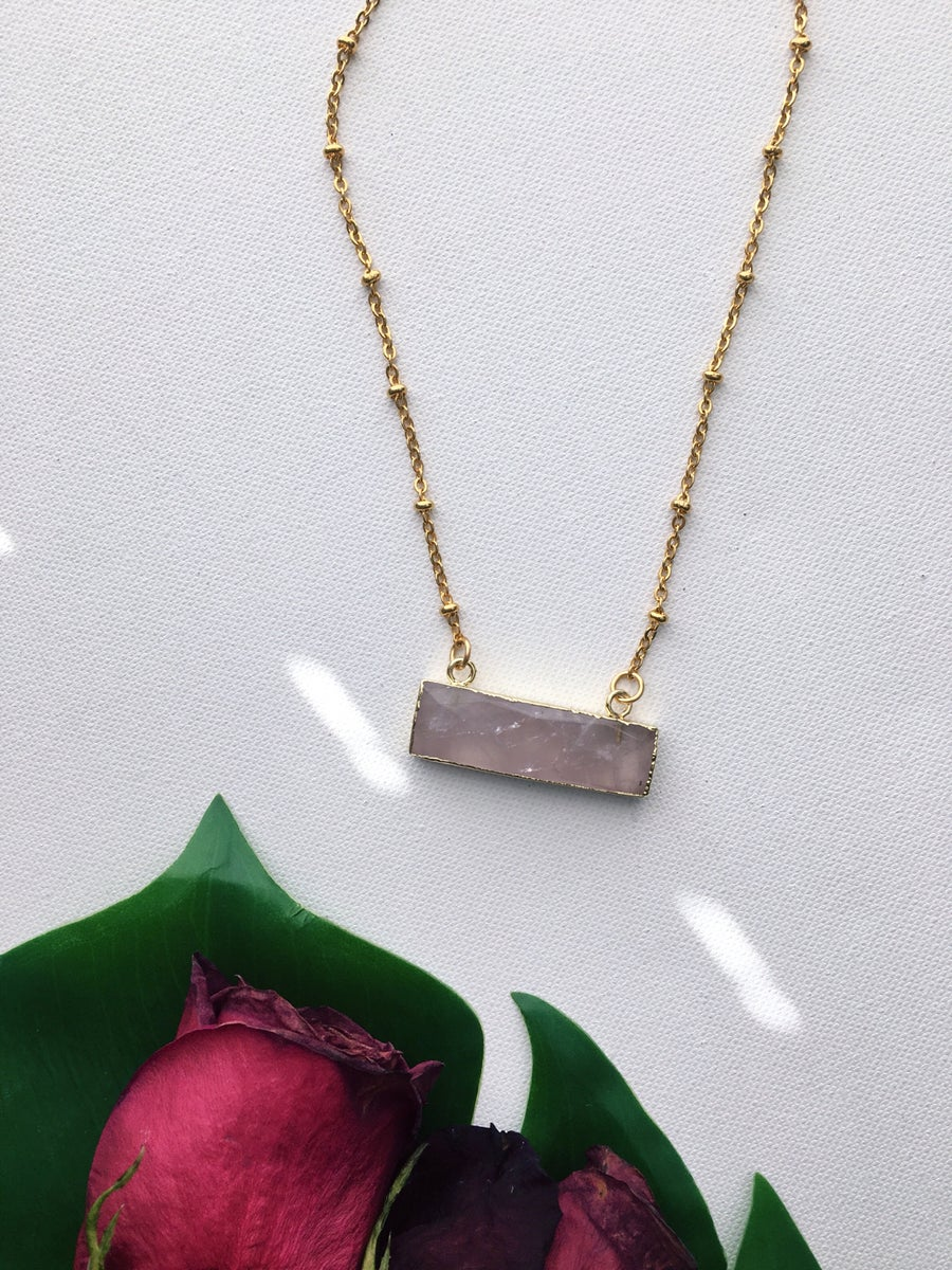Image of BOU • Rose Quartz Bar Necklace