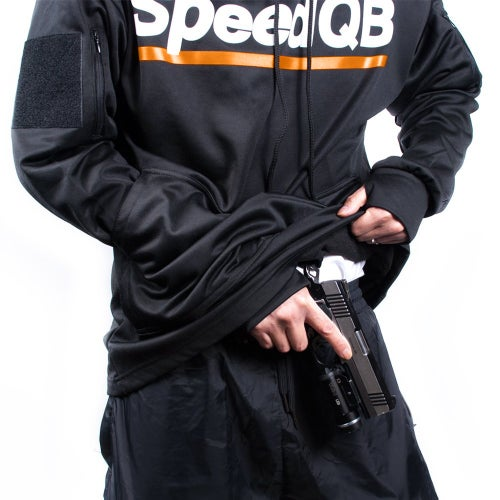 Image of SpeedQB Tech Hoodie (Black/Orange)