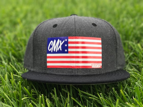 Image of Grey and Black USA Flag SnapBack Hat