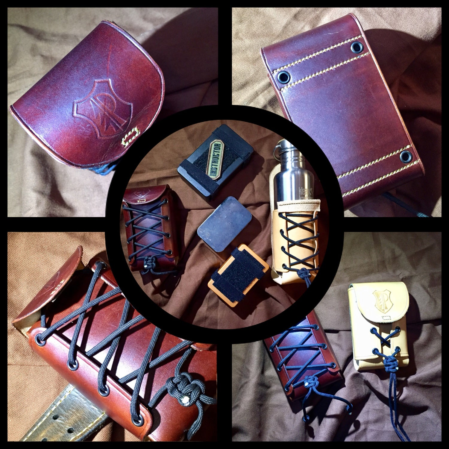 Image of The Corset - Modular leather container pouch (for survival tins, bottles...)