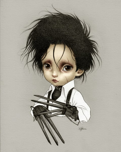 Image of Little Edward Scissor Hands Color Limited Edition Print by Raul Guerra