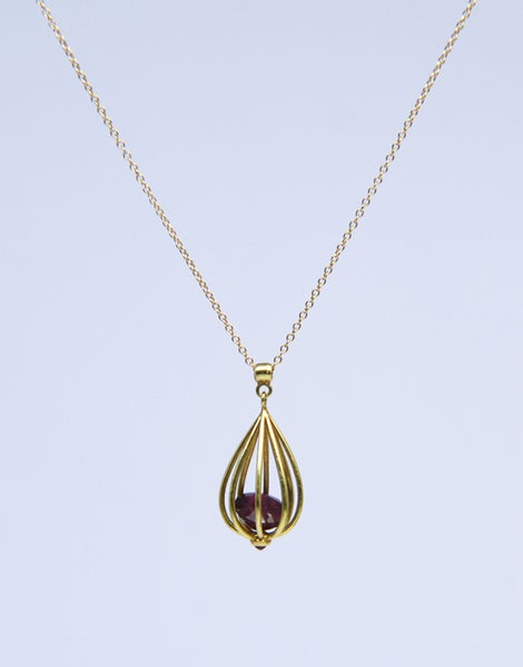 "Image of Large ""Momento"" Teardrop Pendant 18K Gold with Rubies"