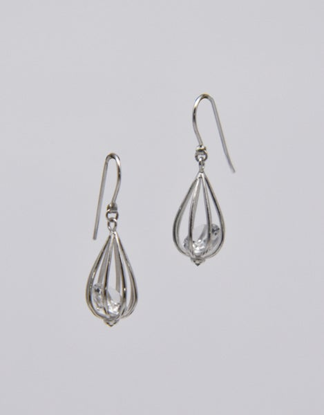 "Image of Medium ""Momento"" Teardrop Earrings with Crystal Quartz"