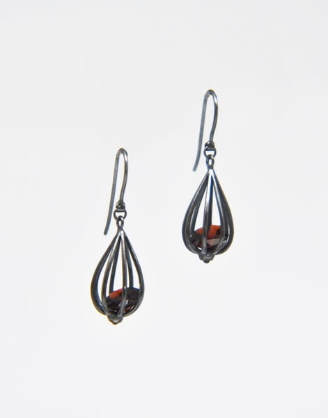 "Image of Medium ""Momento"" Teardrop Earrings with Garnet"