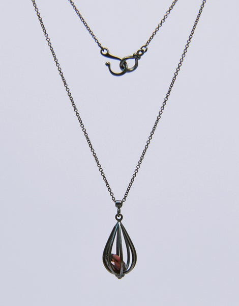 "Image of Medium ""Momento"" Teardrop Pendant Necklace with Garnet"