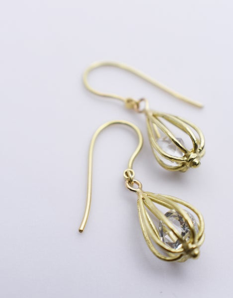 "Image of Small ""Momento"" Teardrop Earrings 18K Yellow Gold with Crystal Quartz"