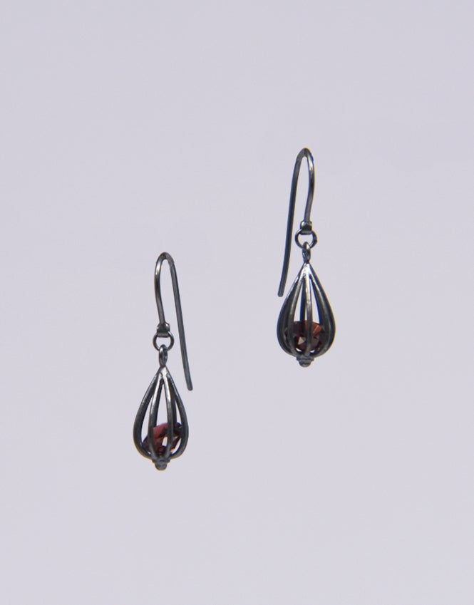 "Image of Small ""Momento"" Teardrop Earrings with Garnet"