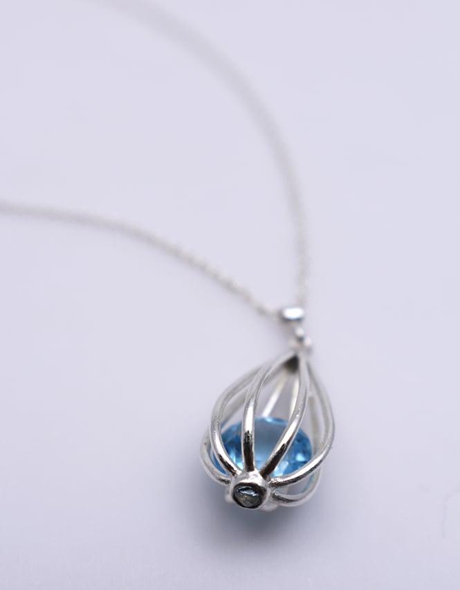 "Image of Medium ""Momento"" Teardrop Pendant Necklace with Sky Blue Topaz"