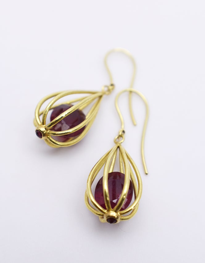 "Image of Large ""Momento"" Teardrop Earrings 18K Gold with Rubies"