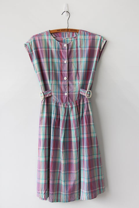 Image of SOLD Happy Plaid Side Buckles Dress