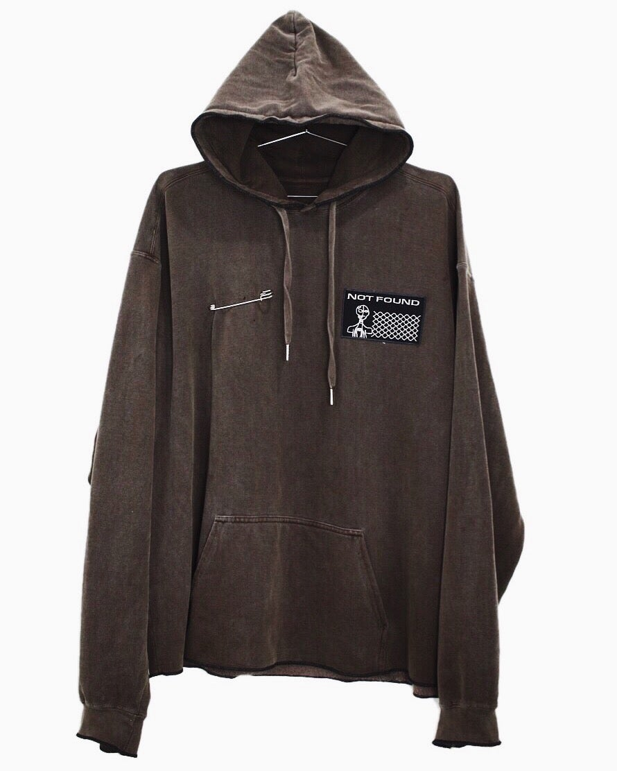 Image of OVERLOCK HOODIE - GARMENT DYED - CHOCOLATE