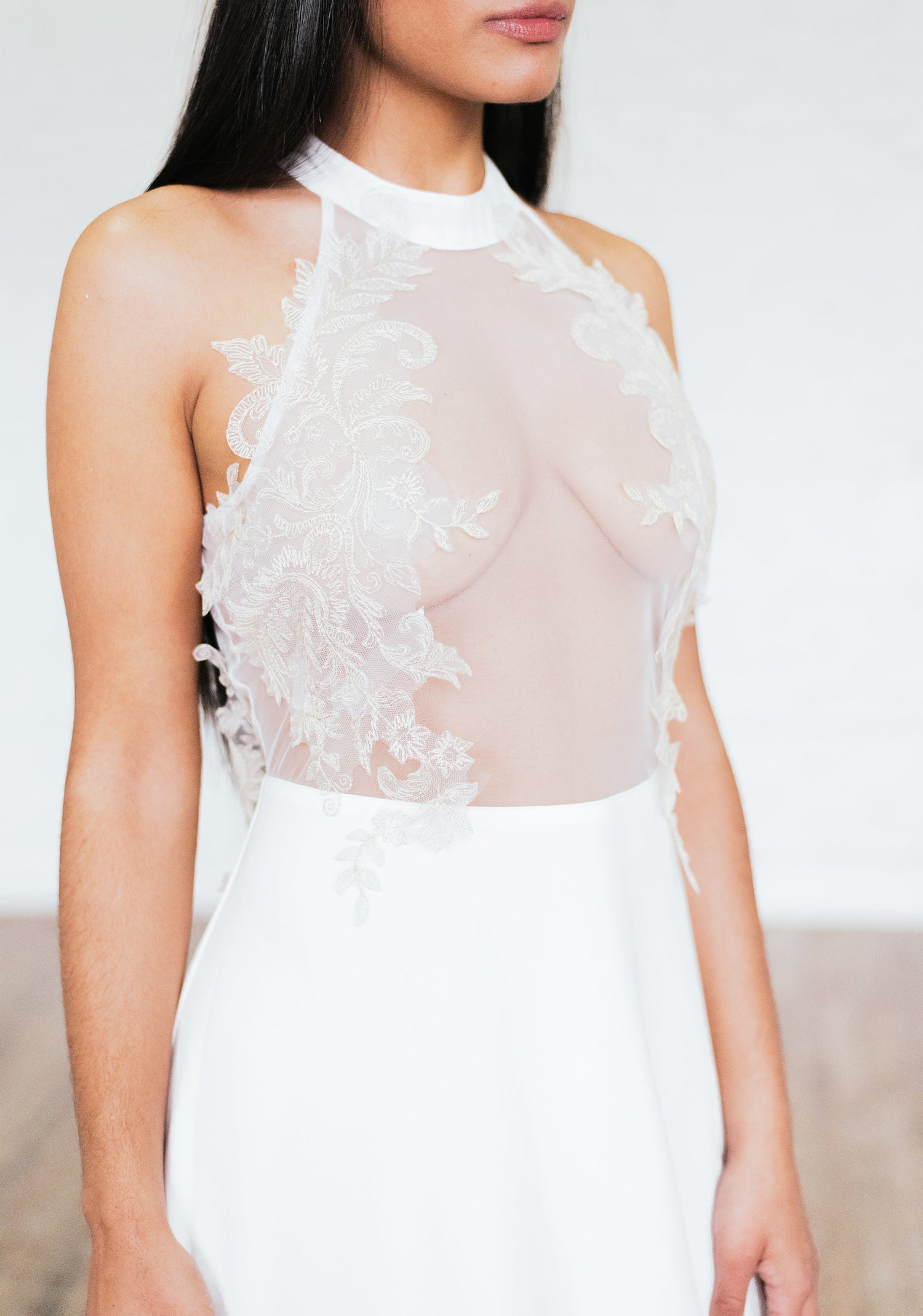 Image of 'Gia' Halter Filigree Gown