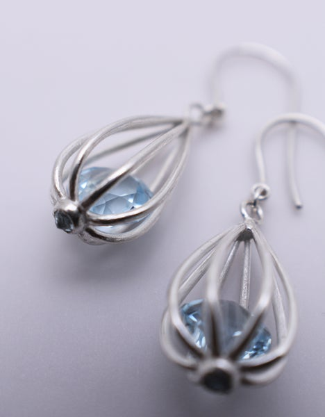 "Image of Medium ""Momento"" Teardrop Earrings with Sky Blue Topaz"