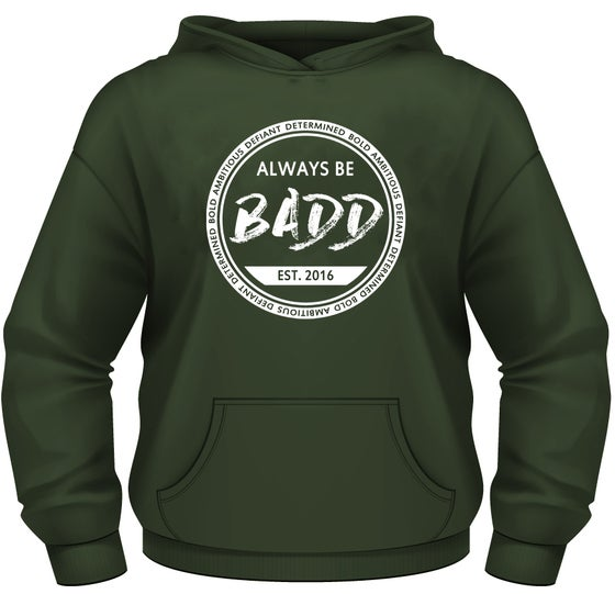 Image of Bold Ambitious Defiant Determined Olive Green Pullover Hoodie