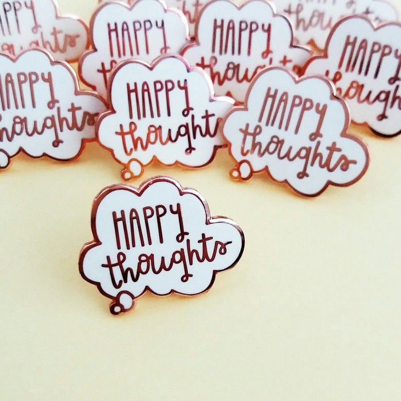 Image of Happy Thoughts Rose Gold Hard Enamel Pin