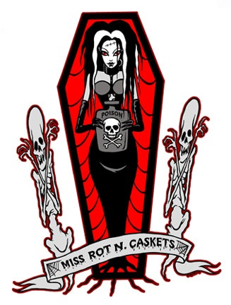 Image of MISS ROT N CASKETS FULL BODY - STICKER