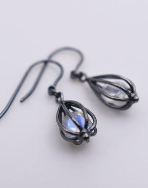 "Image of Small ""Momento"" Teardrop Earrings with Rainbow Moonstone"