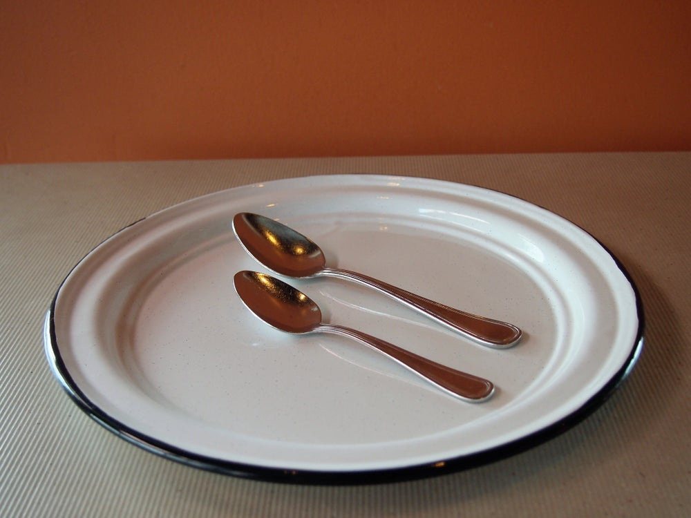 Image of Enamel coated dinner plate with edge