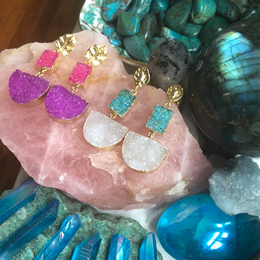 "Image of ""Druzy Vixen"" Earrings // Sparkling Sugar Druzy Gold Dipped"