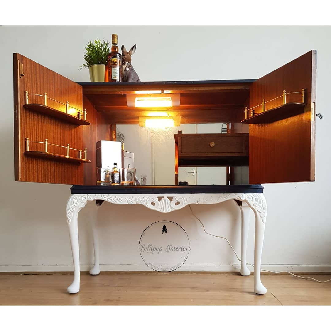 Image of Navy/white drinks cabinet