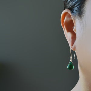 Image of Emerald green glass drop earrings