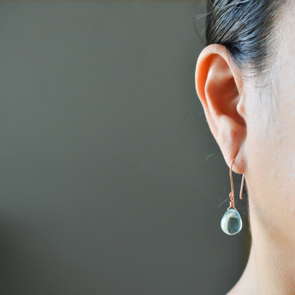 Image of Sky blue glass drop earrings