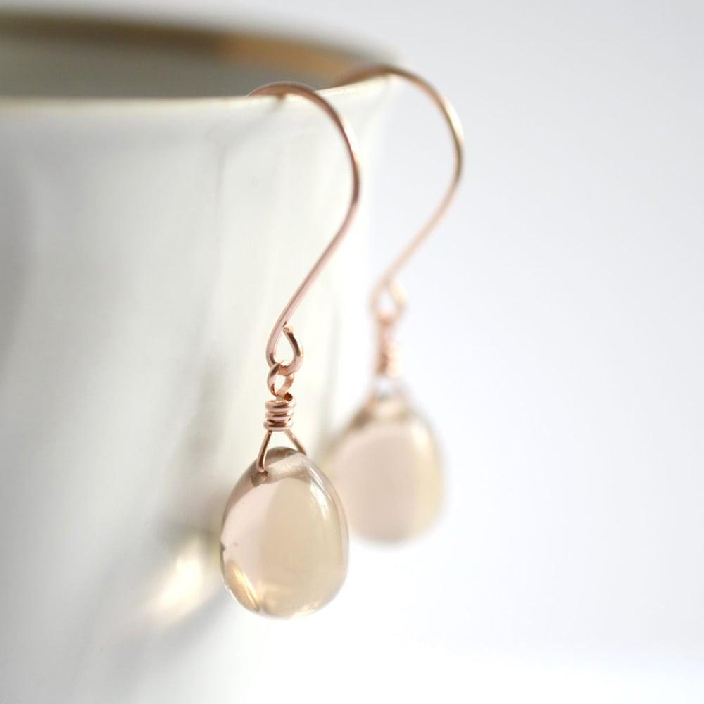 Image of Beige glass drop earrings