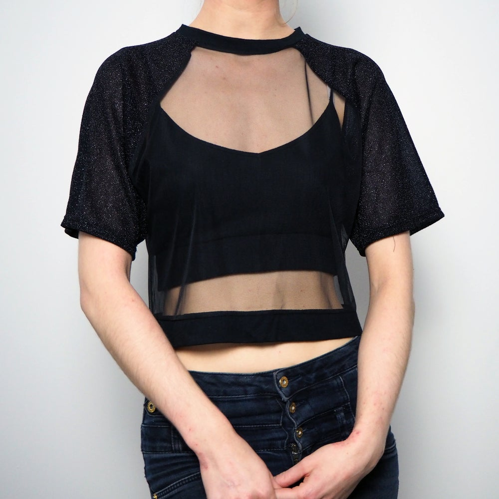 Image of The Glitter Mesh Crop