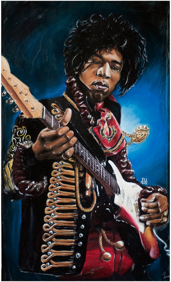 Image of Jimi Rocks by #JeremyWorst fender #music room art work #painting #decor #wall #art #jimihendrix