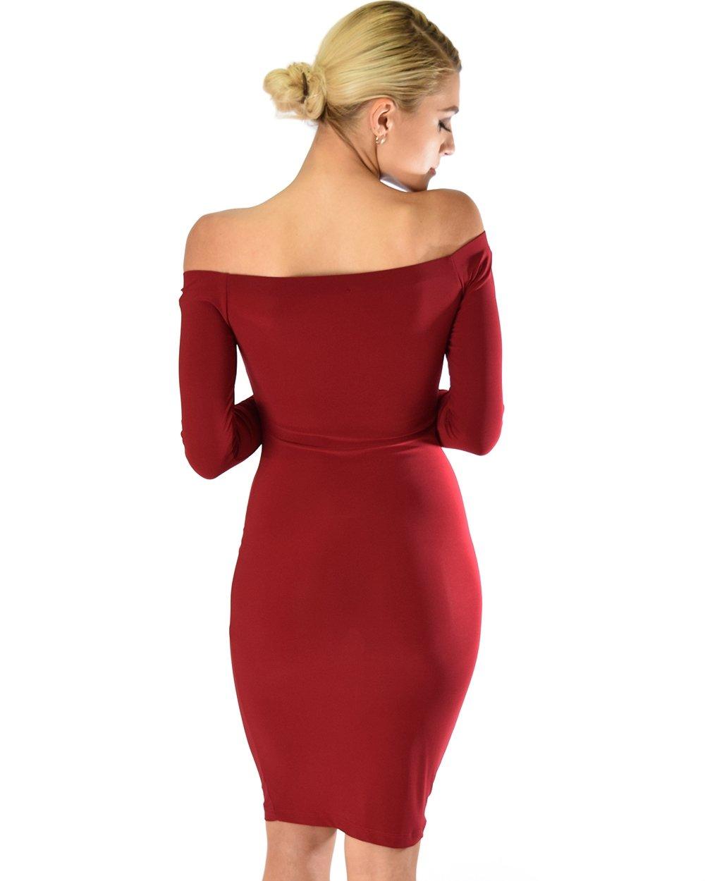 Image of Burgundy Long Sleeve Bodycon Dress