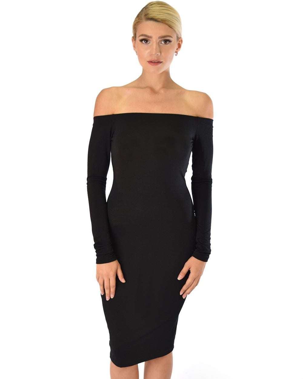 Image of Black Long Sleeve Bodycon Dress