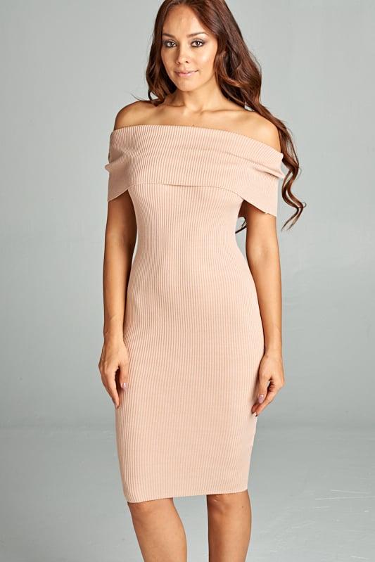 Image of Taupe Off Shoulder Ribbed Dress