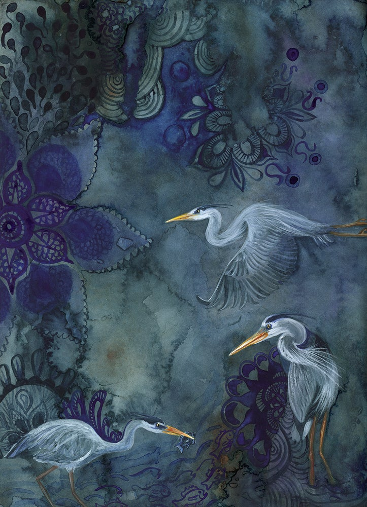Image of HERONS AT TWILIGHT: 9X12 INCH LIMITED EDITION PRINT