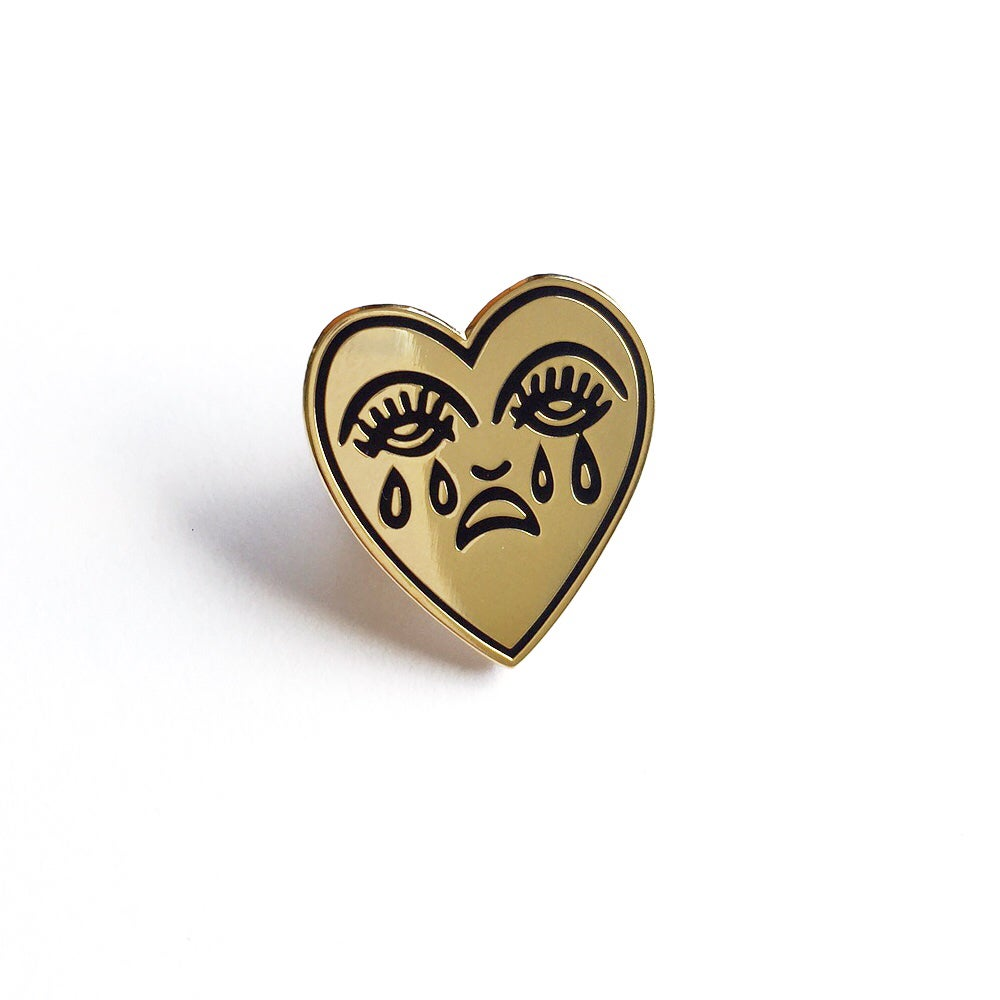 Image of Crying Heart Enamel Pin - Gold