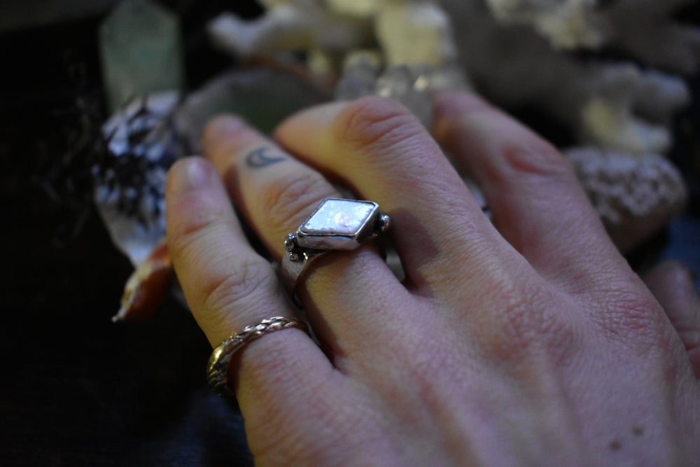 Image of ~ 'Sea Spells' ~ Diamond Shaped Pearl Ring