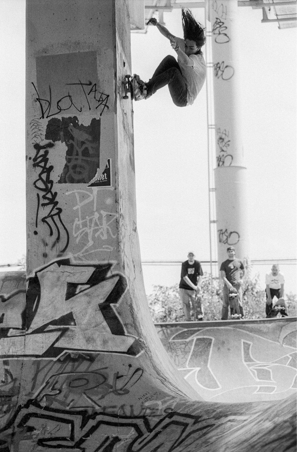 Image of Tony Trujillo, Wall Ride FDR Philadelphia 2003, Anti Hero trip by Tobin Yelland