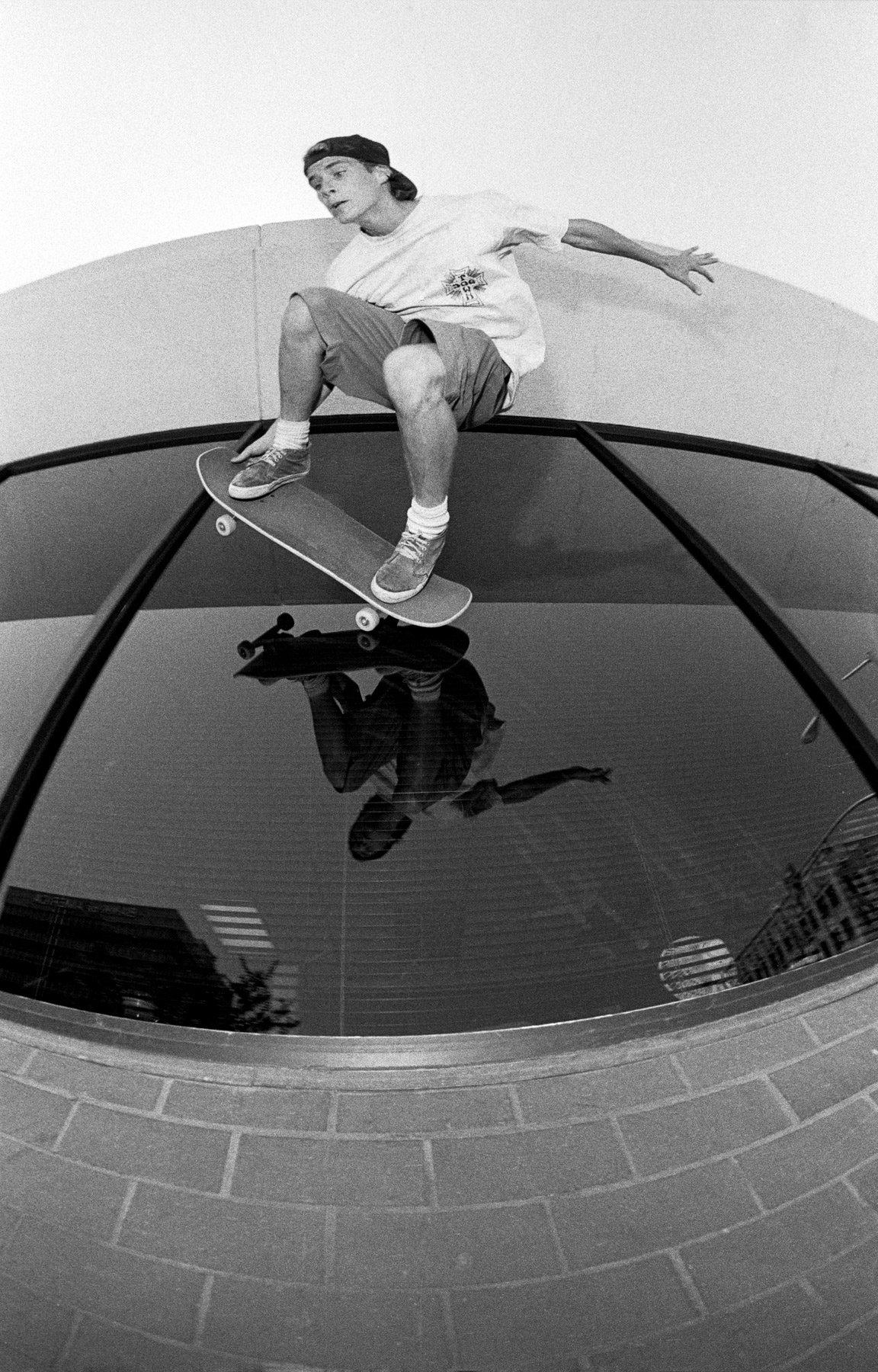Image of John Cardiel, Glass ride, Bakersfield CA 1992