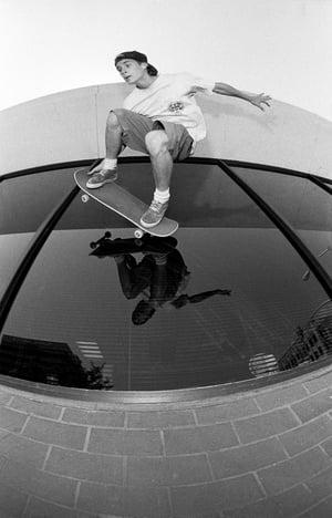 John Cardiel, Glass ride, Bakersfield CA 1992, Spitfire Wheels ad, by Tobin Yelland