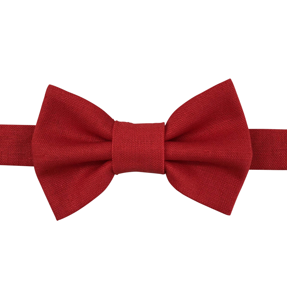 Image of red linen bow tie