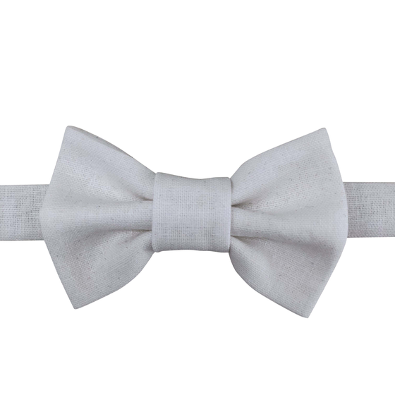 Image of crisp white linen bow tie