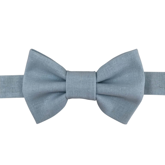Image of pastel blue linen bow tie