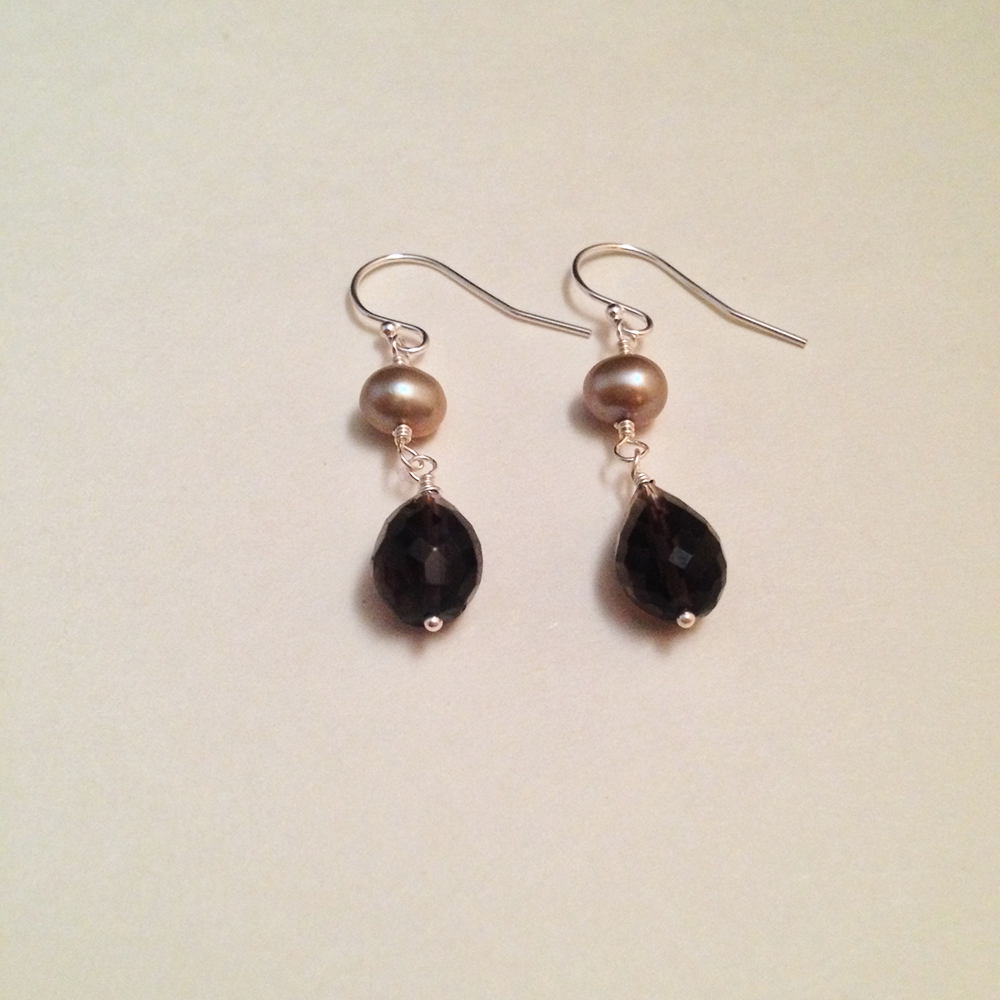 Image of Seven of Cups Smoky Quartz Freshwater Pearl Sterling Silver Gemstone Earrings | Handmade Witch