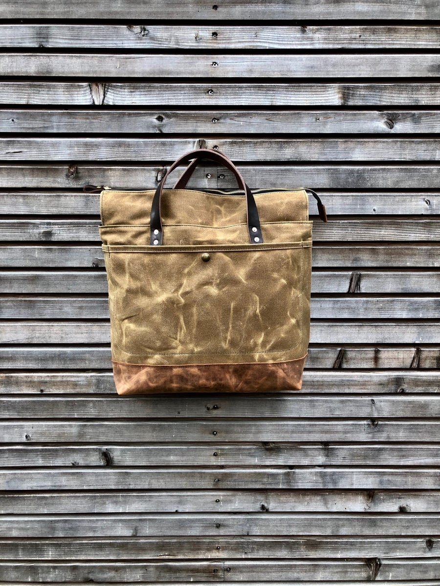 Image of Waxed canvas tote bag - carry all - diaper bag - messenger bag COLLECTION UNISEX