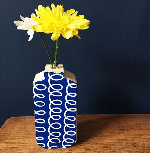 Image of Blue and White Squiggle Wooden Test Tube Vase