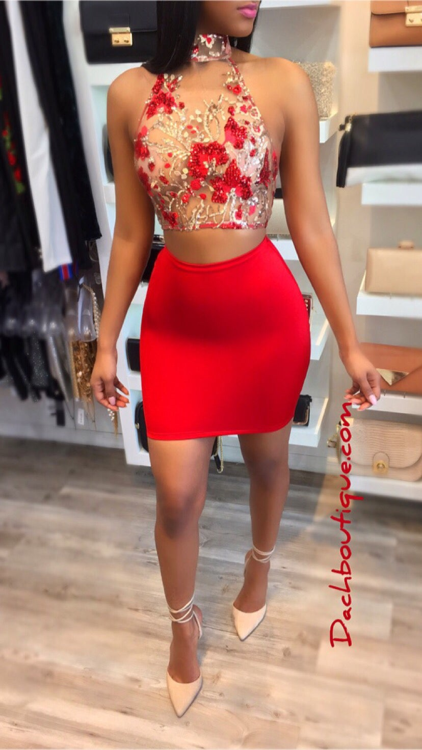 Image of Red Two Piece Set