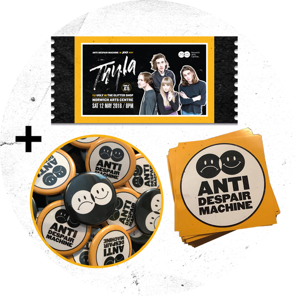 Image of THYLA gig ticket + badge + sticker
