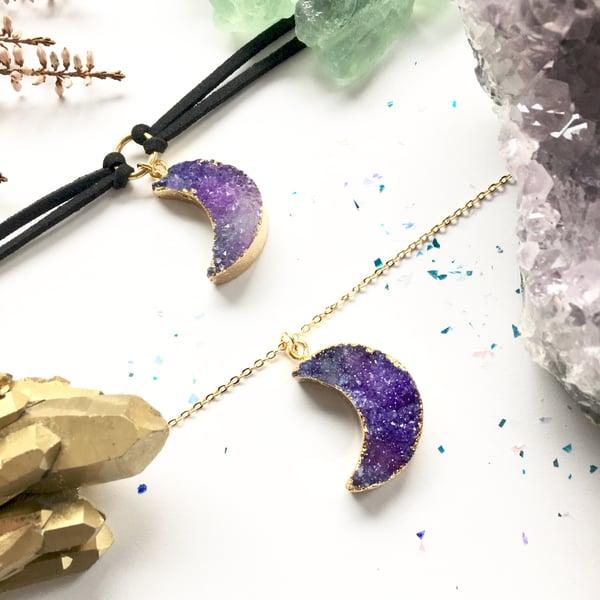 Image of Purple Crystal Moon Choker / Necklace - Aura Quartz