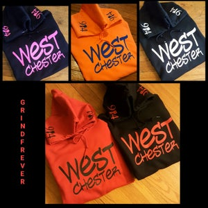 Image of WESTCHESTER 914 HOODIES RED BLACK ORANGE HOT PINK