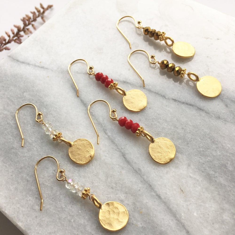 Image of Golden Coin Earrings - glass crystal and gold plated