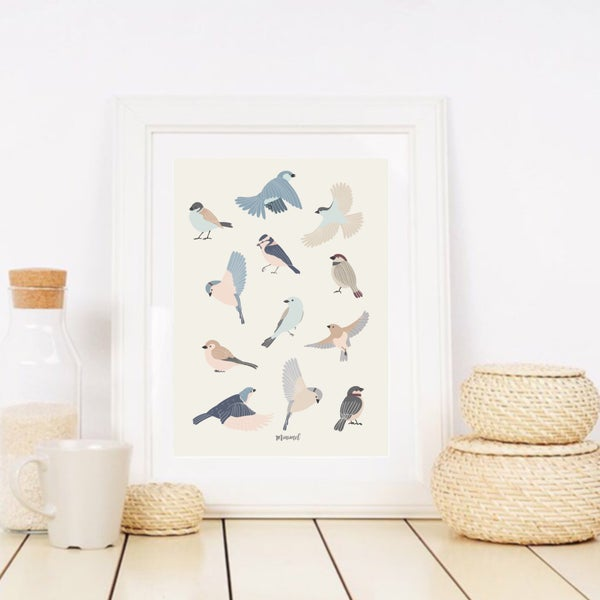 Image of Affiche Oiseaux A3/ Birds A3 poster